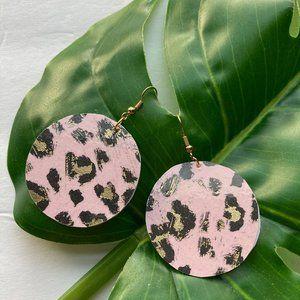 Gold Leopard Earrings, Pink Leopard Earrings